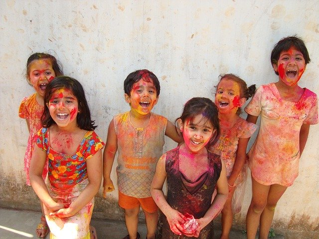 Indian children Holi
